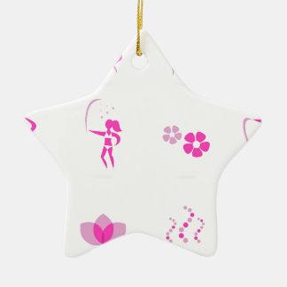 Wellness icons pink ceramic ornament