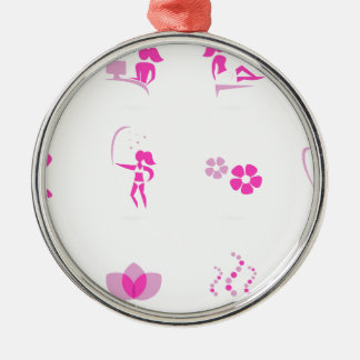 Wellness icons pink metal ornament