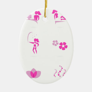 Wellness icons pink on white ceramic ornament