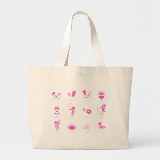 Wellness icons pink on white large tote bag
