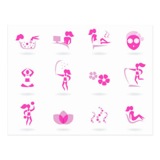 Wellness icons pink on white postcard