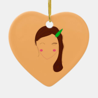 Wellness woman asia on gold ceramic ornament