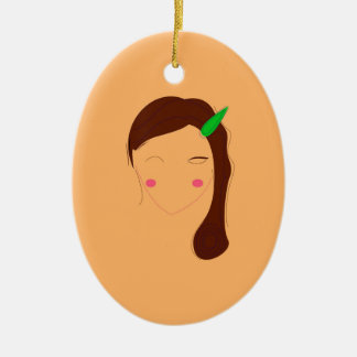 Wellness woman asia on gold ceramic ornament