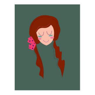 WELLNESS WOMAN Long hair Eco green Postcard