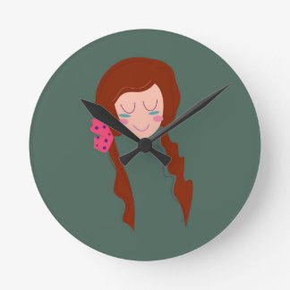 WELLNESS WOMAN Long hair Eco green Round Clock