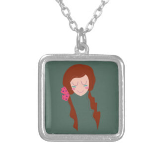 WELLNESS WOMAN Long hair Eco green Silver Plated Necklace