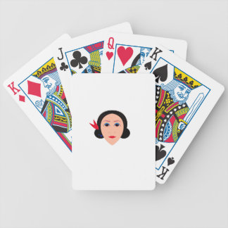 Wellness woman on white bicycle playing cards