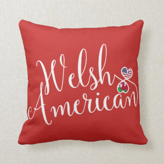 Welsh American Entwined Hearts Throw Cushion