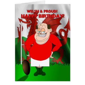 Welsh and Proud Rugby Birthday Card
