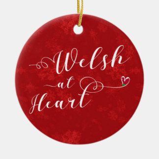 Welsh At Heart, Christmas Tree Ornament, Wales Ceramic Ornament