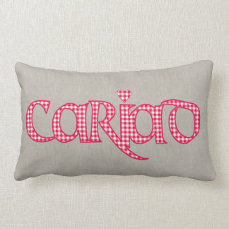 Welsh Cariad Gingham Text Design on Faux Burlap Lumbar Pillow