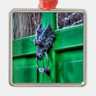 Welsh Cast Iron Dragon Head Door-knocker Silver-Colored Square Ornament