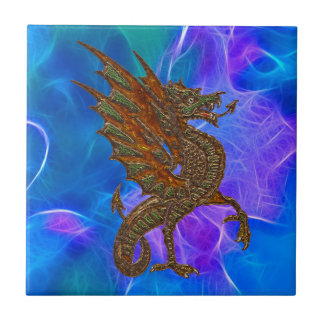 Welsh Celtic Dragon in Gold on Blues II Tile