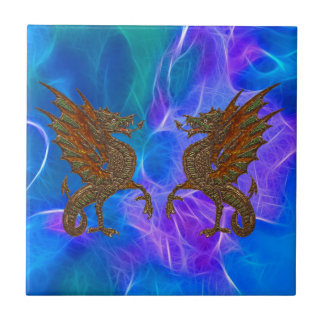 Welsh Celtic Dragons in Gold on Blues III Tile