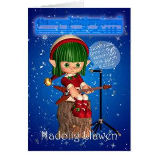 Welsh Christmas Card Silent Night, Tawel nos dros