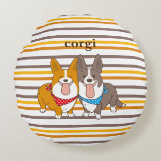 welsh corgi border round pillow