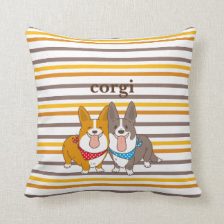 welsh corgi border throw pillow