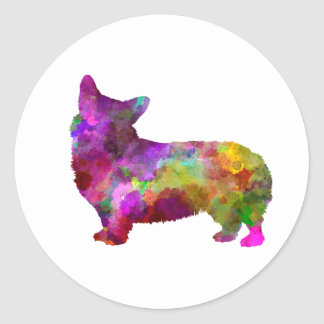 Welsh Corgi Cardigan in watercolor Classic Round Sticker