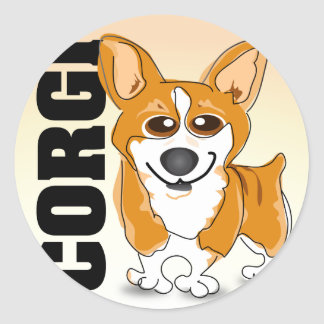 Welsh Corgi Dog Art Round Sticker