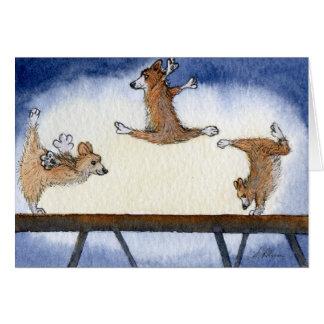 Welsh Corgi dog artistic gymnastics Card