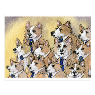 Welsh Corgi dog howl choir Postcard