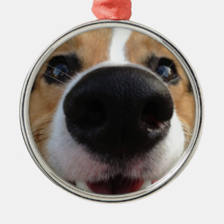 Welsh Corgi Dog Nose Collection Silver-Colored Round Ornament
