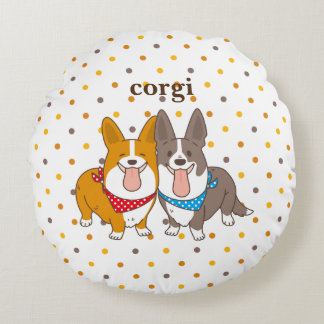 welsh corgi dot round pillow