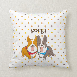 welsh corgi dot throw pillow