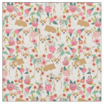 welsh corgi fabric print floral design