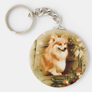 Welsh Corgi in Floral Frame Basic Round Button Keychain