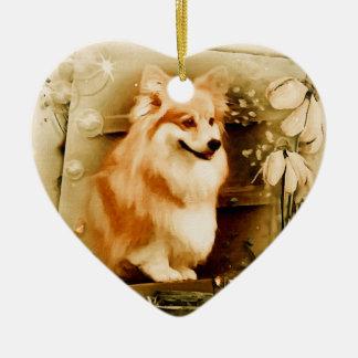 Welsh Corgi in Floral Frame Ceramic Heart Ornament