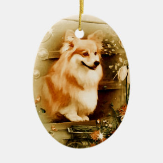 Welsh Corgi in Floral Frame Ceramic Oval Ornament