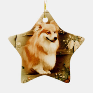 Welsh Corgi in Floral Frame Ceramic Star Ornament