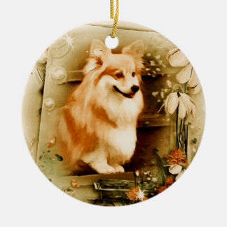 Welsh Corgi in Floral Frame Round Ceramic Ornament