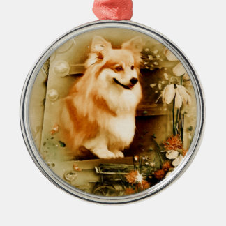 Welsh Corgi in Floral Frame Silver-Colored Round Ornament