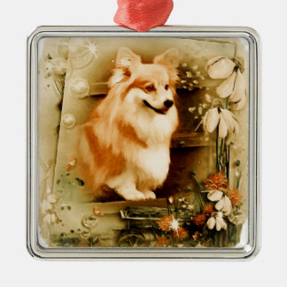 Welsh Corgi in Floral Frame Silver-Colored Square Ornament