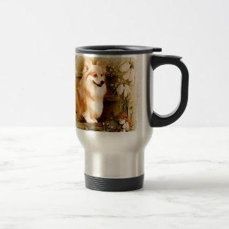 Welsh Corgi in Floral Frame Travel Mug
