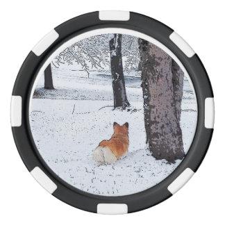 Welsh Corgi in the Snow Set Of Poker Chips