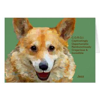 "Welsh Corgi ""Jazz"" Fences For Fido Card"