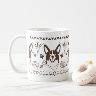 welsh corgi leaf tsu pa handle coffee mug