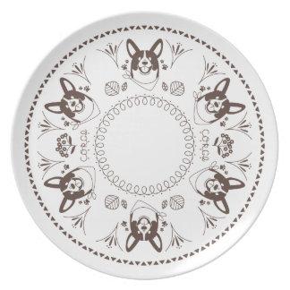 welsh corgi leaf tsu pa handle dinner plate