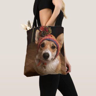 Welsh Corgi Pembroke Wearing A Hand Knitted Hat Tote Bag