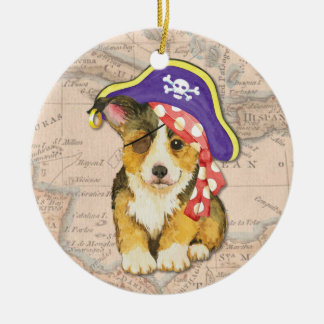Welsh Corgi Pirate Round Ceramic Ornament