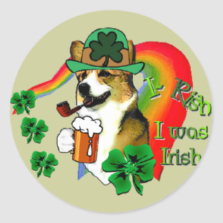 Welsh Corgi Saint Patrick's Day Classic Round Sticker