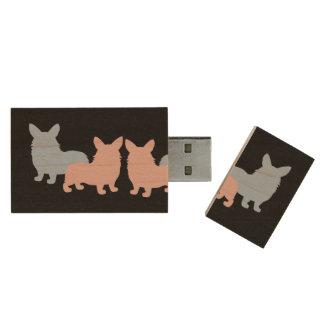 Welsh Corgi Silhouettes Wood USB Flash Drive
