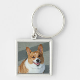 Welsh Corgi Silver-Colored Square Keychain