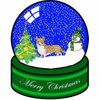 welsh corgi snow globe photo sculpture ornament