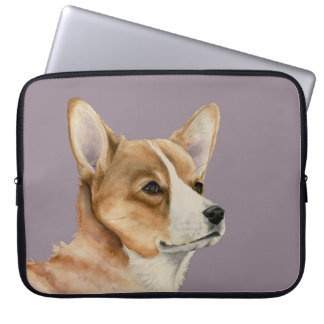 Welsh Corgi Watercolor Painting Laptop Sleeve