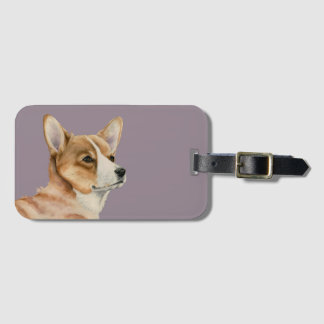 Welsh Corgi Watercolor Painting Luggage Tag