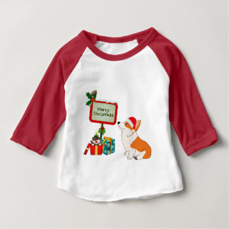 Welsh Corgi with Santa Hat and Sign Baby T-Shirt